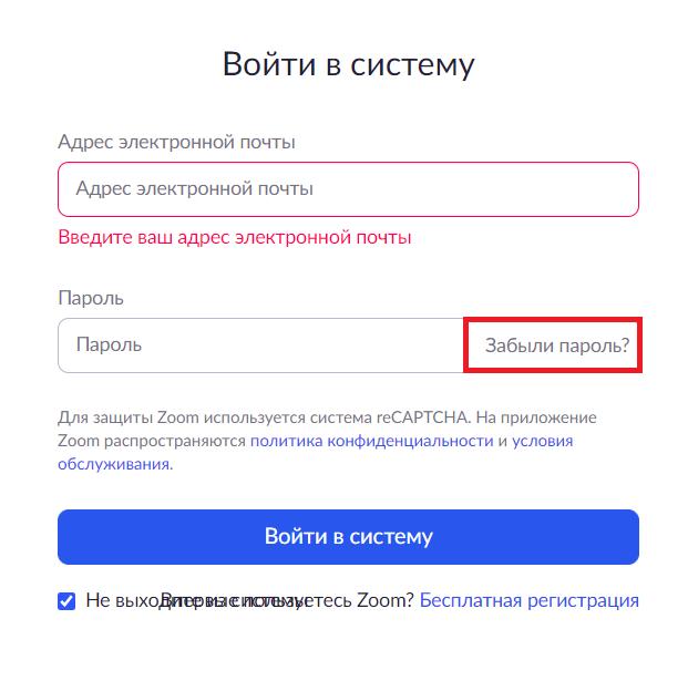 новый пароль для системы Зум